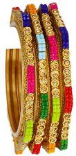 Indian Bangles Partywear Multi Kada Wedding Glass Bangle Bracelet 4p Traditional