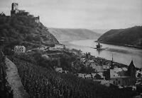 GERMANY Gutenfels Castle Caub & Pfalz Rhine River - 1920s Photogravure Print