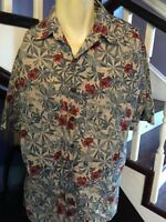 Mens Button Down Long Short Shirt Size L Large Paradise Bay Blue Hawaiian