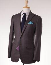 NWT $3795 SARTORIA PARTENOPEA Heather Brown Herringbone Wool-Silk Suit 38 R Eu48