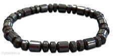 Men's Magnetic Hematite Gun Metal Beaded Elastic Stretch Bracelet UK Seller