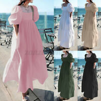 UK Womens Summer Puff Sleeve Sundress A-Line Flare Casual Loose Long Maxi Dress