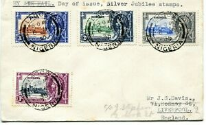 1935 Silver Jubilee Nigeria set on a First Day Cover to Liverpool