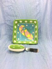 Mainstreet Collection Hand Painted Dip Bowl & Spreader Green Summer Flip Flop