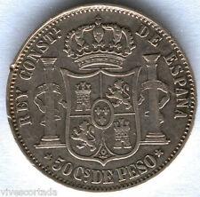 Filipinas Alfonso XII 50 Centavos de Peso 1880 Manila @ Bella @