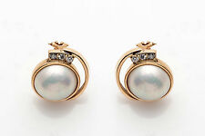 Antique 12mm Natural Mabe Pearl VS G Diamond 14k Gold Leverback Earrings