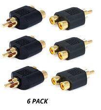 6x RCA Y Splitter 1 Male Plug to 2 Female Jack Adapter Audio Cable Converter