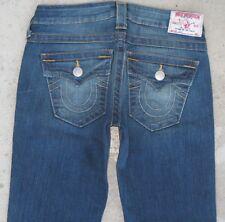 True Religion Jeans Women Billy Slim Straight Leg Flap Pocs Sz 26 Distressed