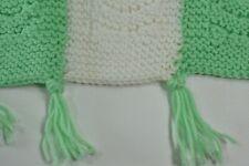 Vintage Hand Crochet Afghan Blanket Throw 45� X 55� Green White Granny Chic