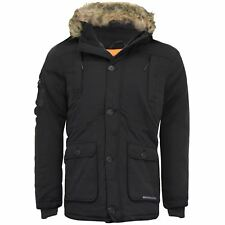 17e63e734a Mens Crosshatch BRAND Heavy Weight Fur Hood Parka Padded Winter Coat Jacket  Black S