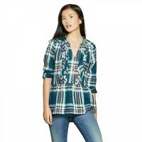 NWT Knox Rose™ Women's Plaid 3/4 Sleeve Popover Flannel Shirt Top Blouse