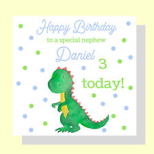 PERSONALISED Dinosaur Birthday Card Baby Boys Son Nephew Brother Age 1st 2nd 3rd