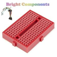 Solderless Prototype Breadboard (170 Points) + 65 Jumper Wires - Red