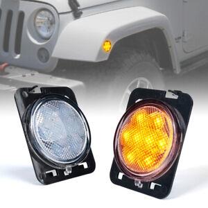 Front Fender LED Side Marker Light Clear Lens for Jeep Wrangler JK 2007-2018