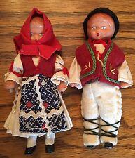 Vintage Boy Girl Germany (?) Dollhouse Dolls Rubber Blue Eyes