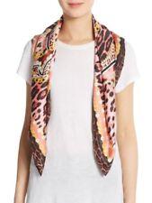 Roberto Cavalli NWT Silk Square Leopard and Chain Print Scarf Retail $298