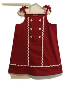 NWT Hanna Andersson GIRLS Tie Sailor Dress Red With White Trim Size 100 FacWrap
