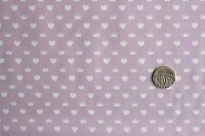Princess Hearts & Crowns on Lilac fabric 1 mtr 100% Cotton Fabric Freedom FF39-3