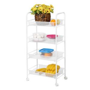 Kitchen Utility Cart Storage Basket Shelf Organizer with Wheel For Home Kitchen