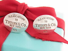 Tiffany & Co Silver Oval Return To Cufflinks Cuff Links Link Packaging