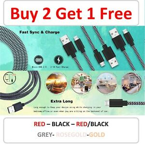 1M 2M 3M Long Micro USB Data Sync Charger Cable Lead For Android  Samsung Phones