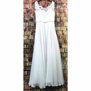 Mary's Bridal White Empire Waist Lace Sleeveless Wedding Dress Buttons Size 14