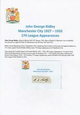 JOHN RIDLEY MANCHESTER CITY 1927-1932 VERY RARE ORIGINAL HAND SIGNED CUTTING