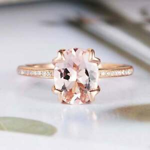 14K Rose Gold Finish 2.00Ct Oval Cut Peach Morganite Solitaire Engagement Ring