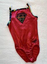 Nastia Liukin GK ELITE Gymnastics LEOTARD Red SUPERGIRL Rainbow BLING  Size: CL