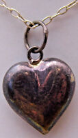 """Vintage 16"""" Necklace w/Plump Small Heart Pendant Love Cute 925 Sterling Silver"""