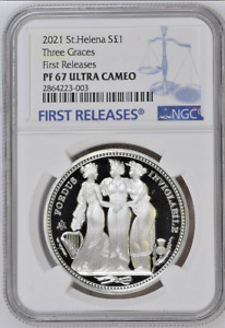 2021 St. Helena S£1 | Three Graces | 1oz Silver Coin | NGC PF67UC FR | OGP+COA