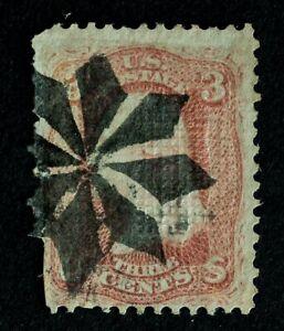 Scott US 94 1868 3¢ Wash. F-Grill, Fancy Used / Geometric Cancel