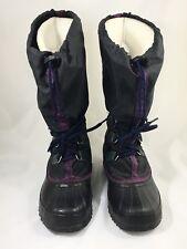 Sorel Womens Winter Boots Tall Insulated Ski Snow Black Purple Polar Bear Size 6