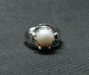 Solid Silver Pearl Ring Men 9 mm Round pearl Band Mens pearl ring men Heavy ring