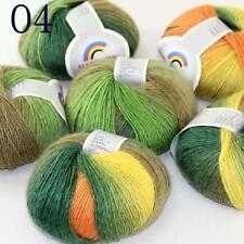 Sale Soft Cashmere Wool Colorful Rainbow Wrap Shawl DIY Hand Knit Yarn 50grx6 04