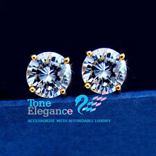 18k 18ct yellow gold GF stud wedding solid earrings made with swarovski crystal