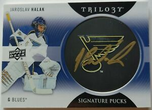 2013-14 Upper Deck Trilogy Jaroslav Halak Signature Pucks Auto - St. Louis Blues