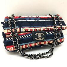 b60be4f699cb63 AUTHENTIC CHANEL Central Station Chain Shoulder Bag Multicolor Canvas