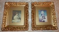 Pair Vtg Framed PRINTS Age of Innocence Reynolds & Girl With Watering Can Renoir