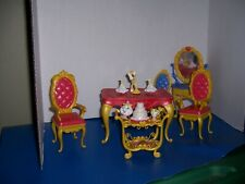 Mattel 2010 Disney Beauty & The Beast Castle Table Chairs + Vanity & Chair