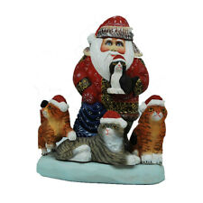 Amazing Hand Carved and Painted Wooden Santa with Kittens