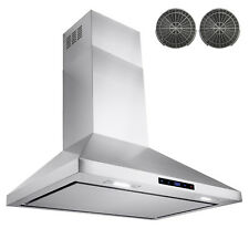"30"" Stainless Steel Wall Mount Range Hood Touch Screen W/ Carbon Filter"