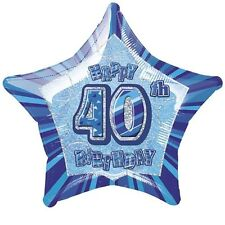 "20"" Blue Happy 40th Birthday Prismatic Foil Helium Balloon Party Decorations"