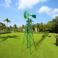 8ft Outdoor Metal Windmill Yard Garden Decoration Wind Mill Green