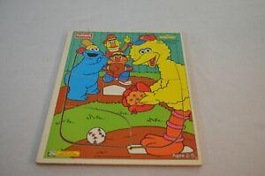 Vintage Big Bird Baseball Sesame Street Wooden Puzzle Playskool 1994 9 Pieces