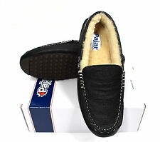 Pajar Canada Fur Lined Lodge Leather Slippers/Shoes - Black Size 43