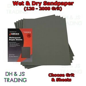 Wet and Dry Sandpaper 120 - 2000 Grit Abracs Sand Paper Waterproof Fine Coarse