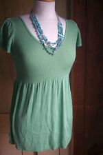 Women's Max Studio Babydoll Sweater-XS-Green-NWT-V-neck-Ribbed-Spring!