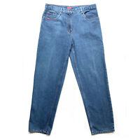 Vintage BLUE RIDGE Dark Blue Denim Cotton High Waisted Mum Style Jeans Size 14