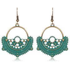 Flower Dangle Ear Hook Earrings Gift 1Pair Fashion Retro Green Semicircle Hollow